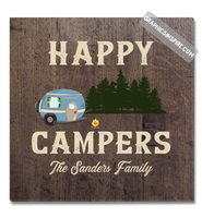 Graphics Inspire Canvas - Personalized Happy Campers RV Camping Rustic Faux Wood Canvas Wrap