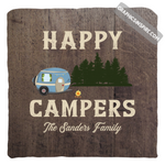 Graphics Inspire Pillow Cover - Personalize Happy Campers RV Camping Rustic Wood Look Throw Pillow Cover Only