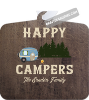 Graphics Inspire Ornament - Personalize Happy Campers RV Camping Rustic Wood Look Metal Ornament