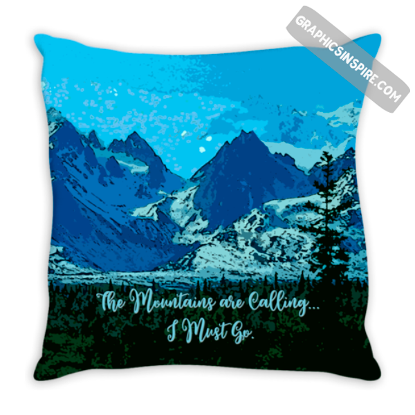 Graphics Inspire - The Mountains are Calling I Must Go Alaska Mountain Peaks Blue Throw Pillow