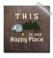 Graphics Inspire Canvas - This Is Our Happy Place Wood Look Distressed RV Camping Canvas Wrap