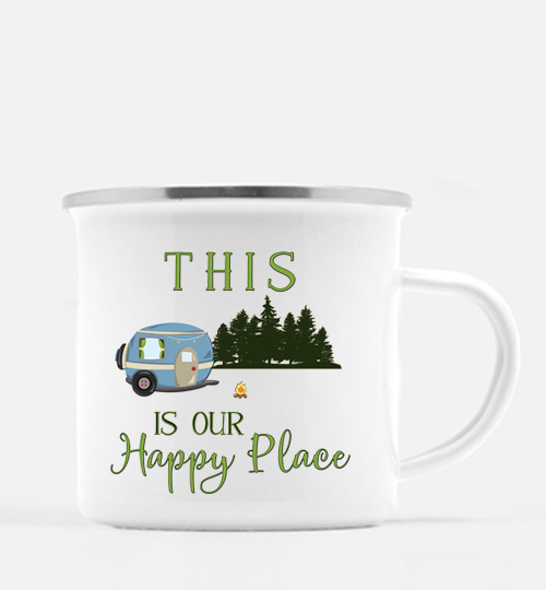 Graphics Inspire Mug - This Is Our Happy Place RV Camping 10 oz. Metal Camp Mug