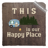 Graphics Inspire Pillow Cover - This Is Our Happy Place Wood Look Distressed RV Camping Throw Pillow Cover Only