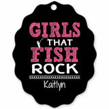 Graphics Inspire - Personalize Girls that Fish Rock Fun Fishing Turtle Shell Shaped Metal Ornament with Angler's Name