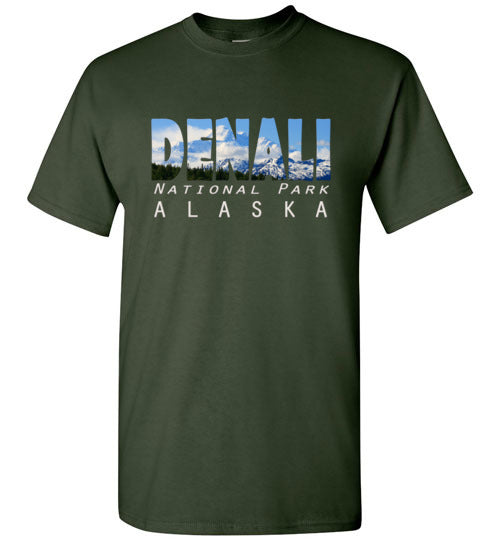 Graphics Inspire - DENALI National Park Alaska Mountain Range Forest Green T-Shirt