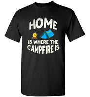 Graphics Inspire - HOME Is Where The CAMPFIRE IS Funny Tent Camping Distressed Black T-Shirt