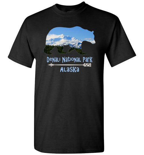 Graphics Inspire - Denali National Park Alaska in Grizzly Bear Black T-Shirt