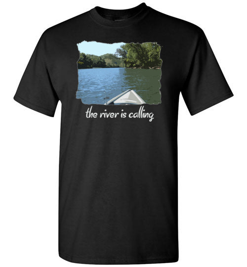 Graphics Inspire - The River is Calling from Kayak with fishing pole Angler's Black T-Shirt