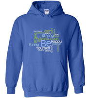 Graphics Inspire - BE Yourself Motivational Word Cloud to Inspire Royal Blue Hoodie