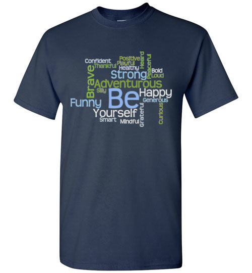 Graphics Inspire - BE Yourself Motivational Word Cloud to Inspire T-Shirt in Navy