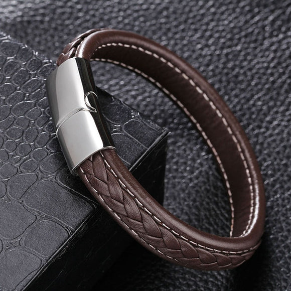 Trendy 12*6mm Black/Brown Genuine Leather Bracelet Men Stainless Steel Cuff Bracelets & Bangles Male Jewellery Gifts