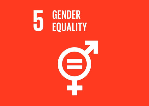 A bright red background, '5 Gender Quality' is written in white text. There is also the merging of the male and female symbols with an equals sign in the middle - also in white