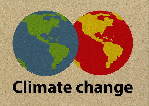 the image says 'Climate Change' and features 2 earths overlapping, one green and blue - the other red and yellow