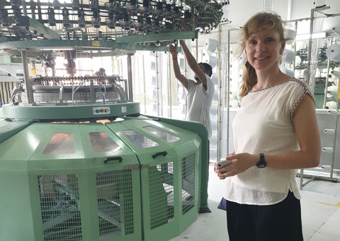 Sarah on a trip to India to visit our manufacturer
