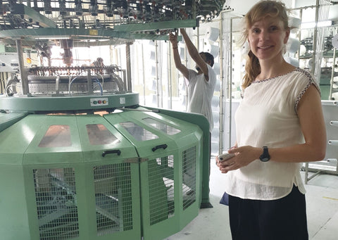 Our CEO Sarah in our factory in India