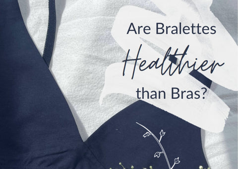 a navy blue bralette with the text 'are bralettes healthier than bras?' above