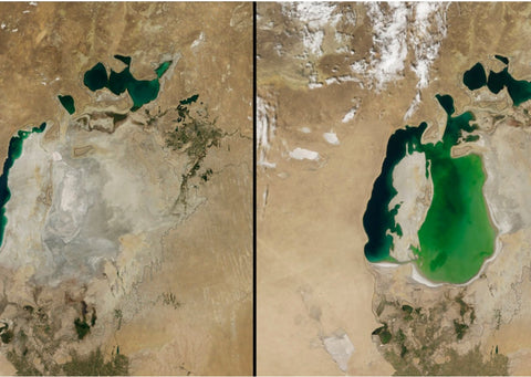 A before and after of the Aral Sea