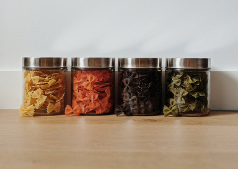 Zero waste glass jars of pasta
