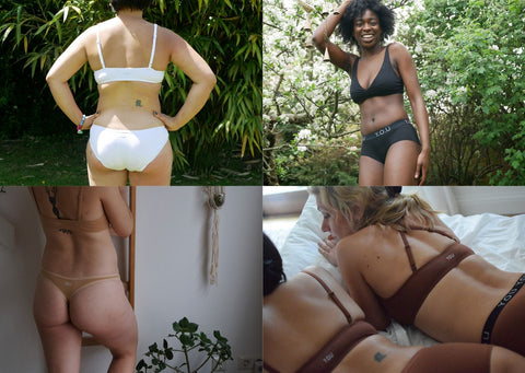 A Grid with 4 images of women in Y.O.U Underwear