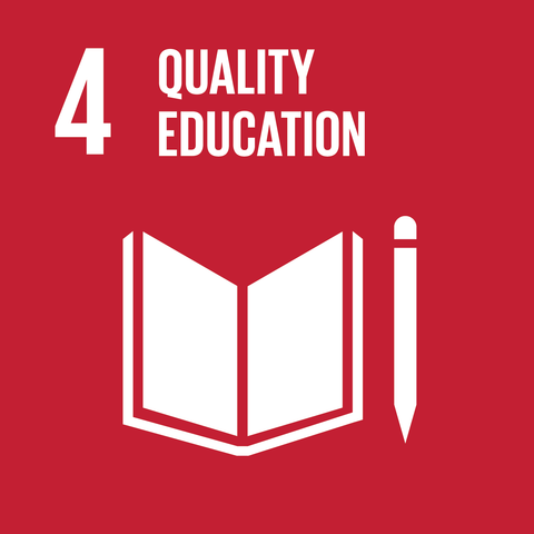 on a red background the text '4 quality education' is above a white book and pencil