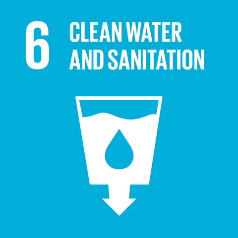 On a light blue background the text '6 clean water and sanitation' appears above an image of water