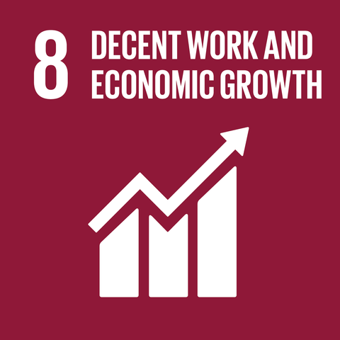 On a Burgundy background, the text '8 decent work and economic growth' is above a rising graph