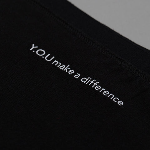 'YOU make a difference' - positive message inside all Y.O.U pants