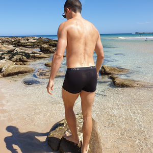 Black men's trunks - model shot back view