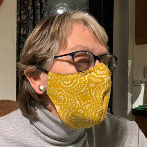 Organic cotton face mask - mustard yellow pattern, reversible design