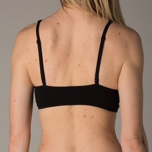 Women's organic cotton black bralette - back view - model shot