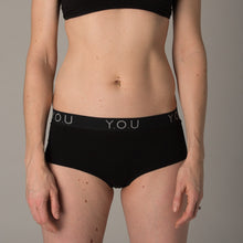Women's black boy shorts with Y.O.U elastic waistband - front view