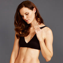 Women's organic cotton black bralette - model shot