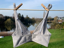 Girls' organic cotton bralettes -  3 pack of white, pink & grey