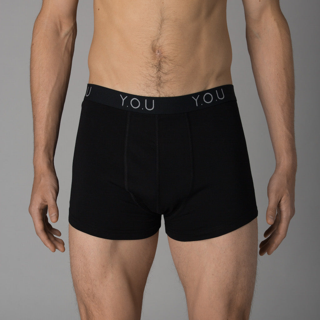 Men's black trunks - front view