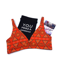 Women's organic cotton bralette - Red Mara design