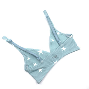 Girls' organic cotton bralette - blue with white stars