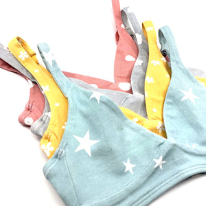 Girls' organic cotton bralettes - mixed pack of all 4 patterns