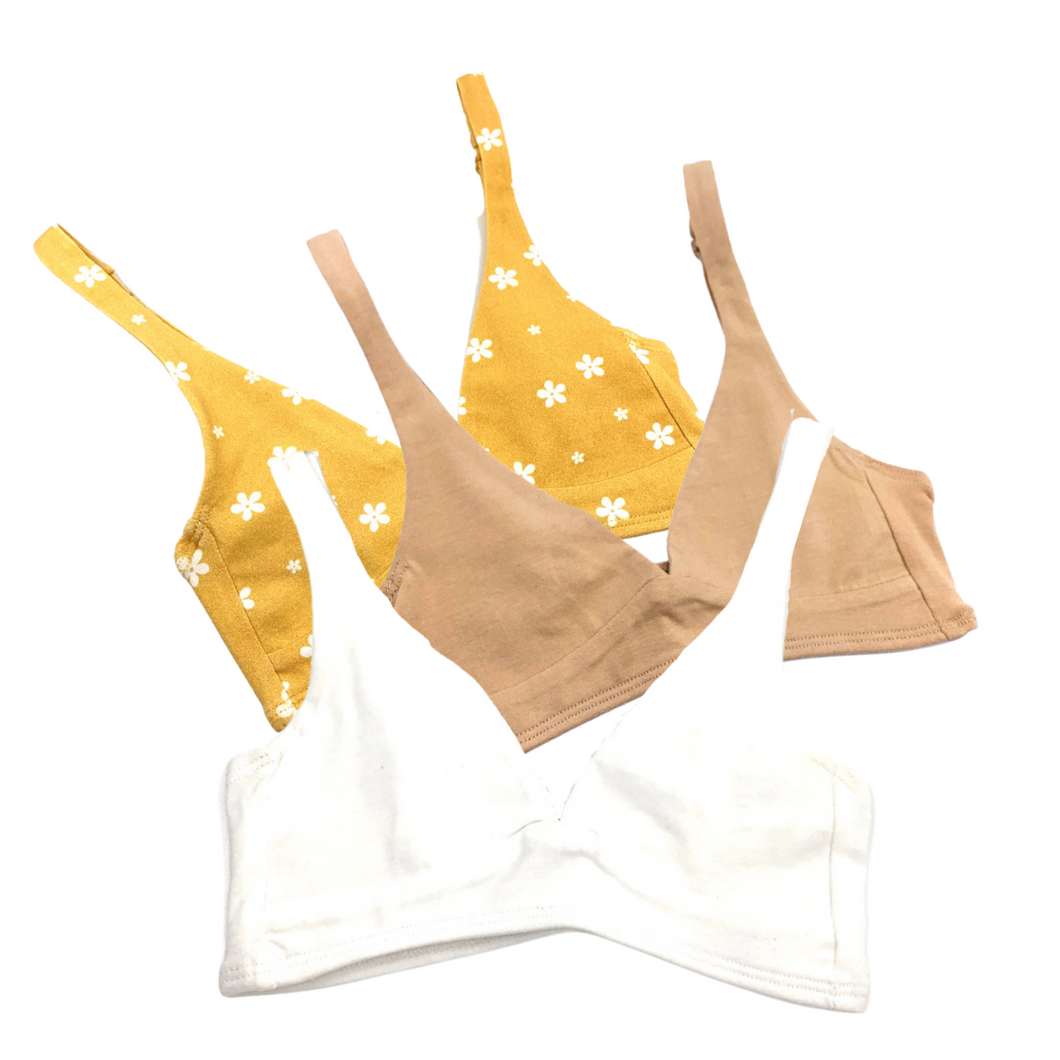 Girls' organic cotton bralettes -  3 pack of white, almond, & yellow flowers