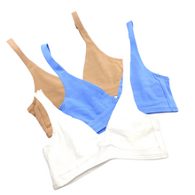 Girls' organic cotton bralettes -  3 pack of white, blue & almond