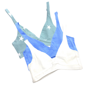 Girls' organic cotton bralettes -  3 pack of white, blue & blue stars