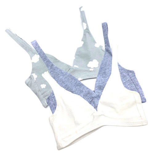 Girls' organic cotton bralettes -  3 pack of white, grey & grey clouds