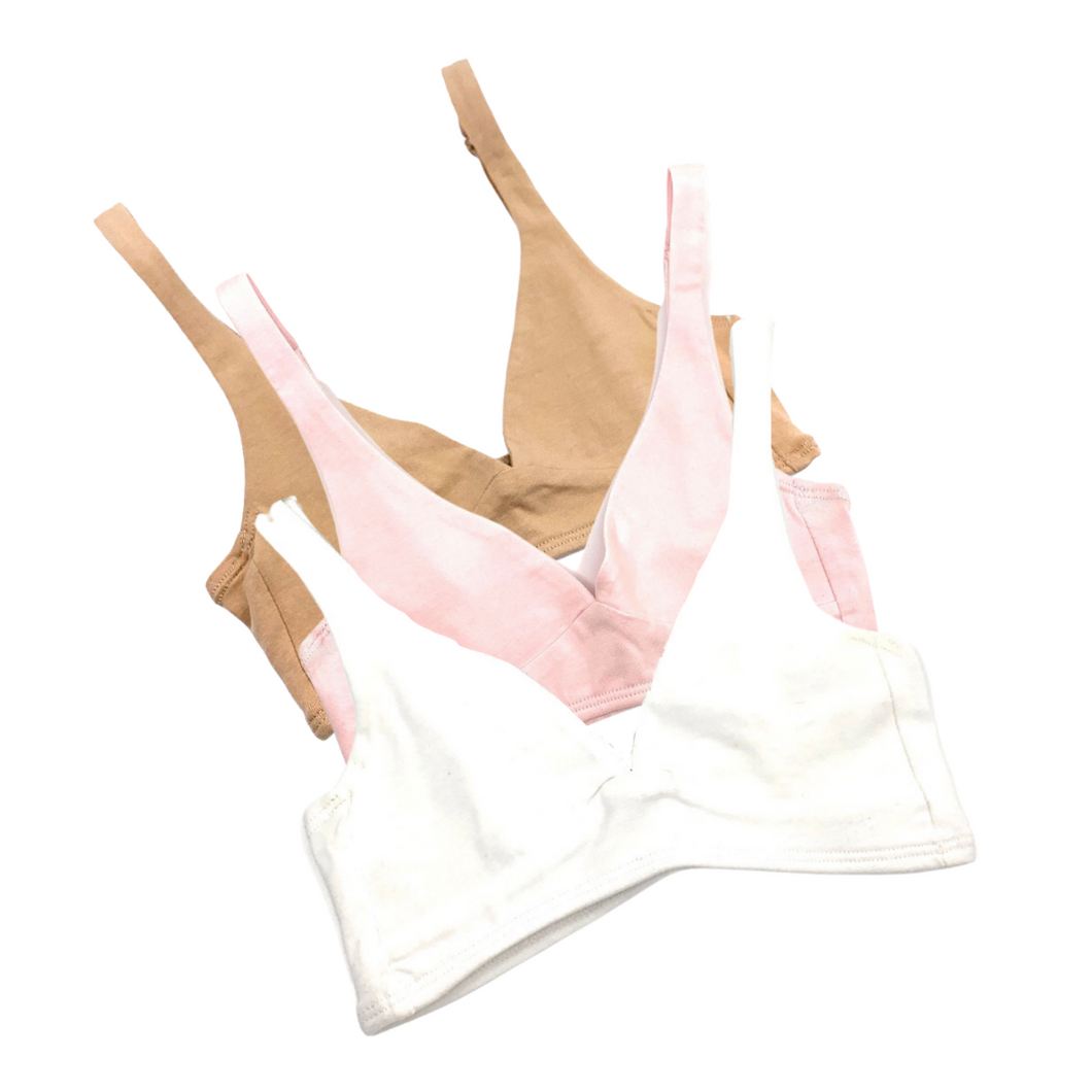 Girls' organic cotton bralettes -  3 pack of white, pink & almond