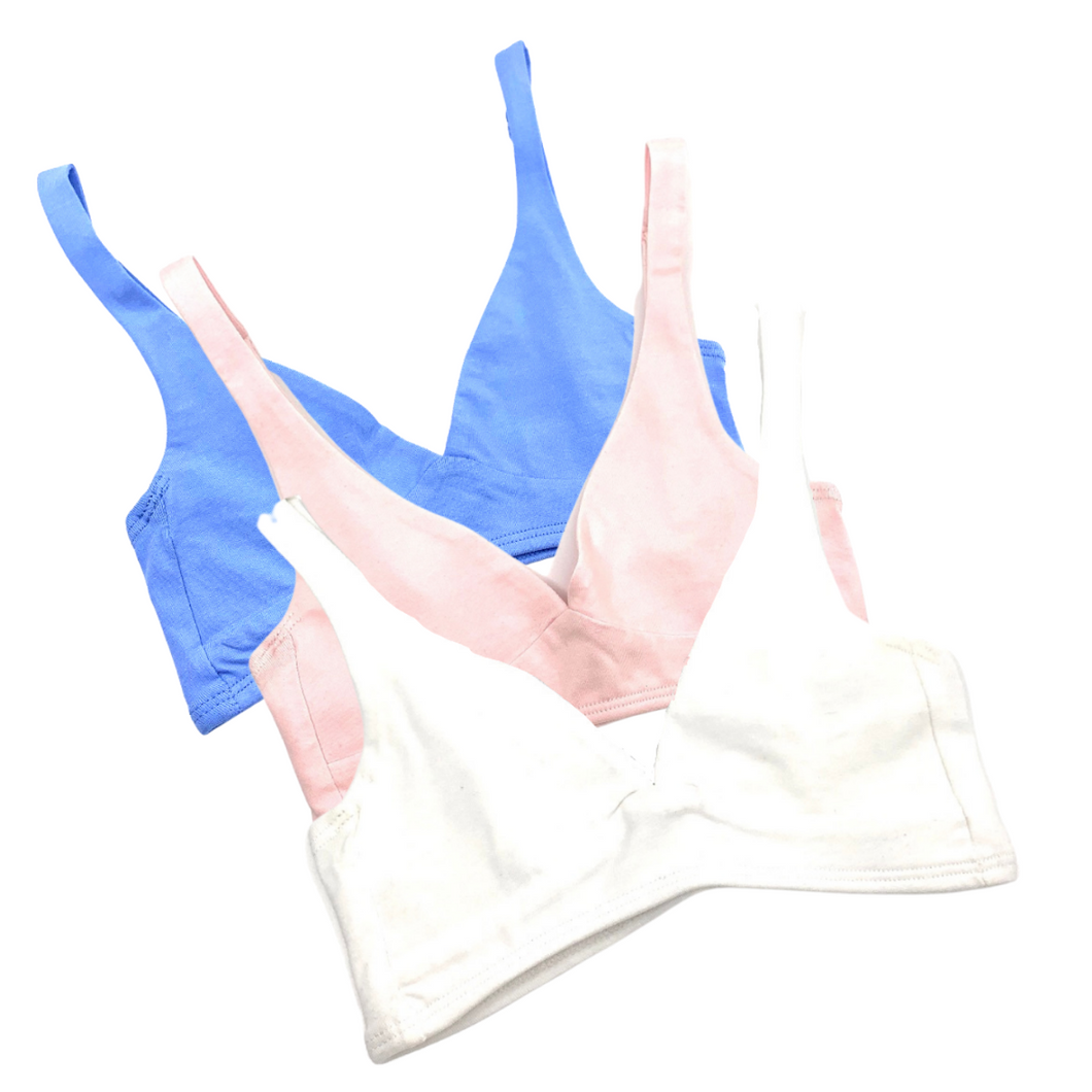 Girls' organic cotton bralettes -  3 pack of white, pink & blue