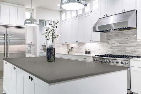 This Transitional Kitchen Has A Lot Of Very Sleek, Clean Lines, As Well As  A White And Gray Monochromatic Color Scheme. It Also Has An Island That Is  Not ...