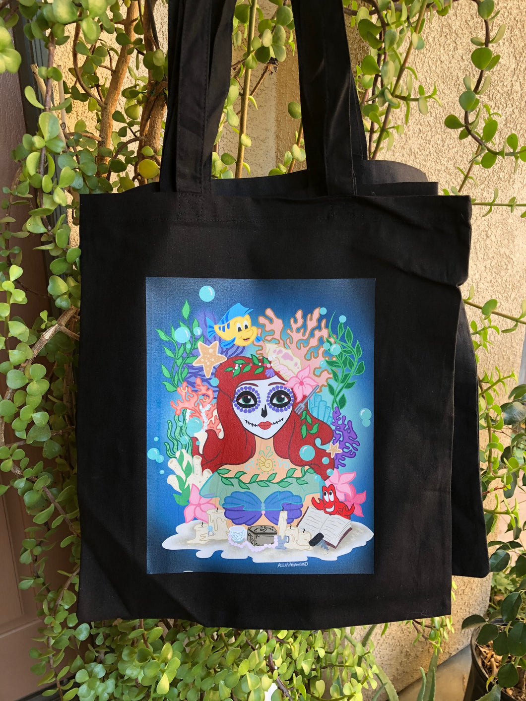 Sugar Skull Mermaid Tote bag