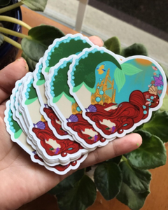 Mermaid Princess Heart Sticker - Vinyl Die Cut Sticker 3""