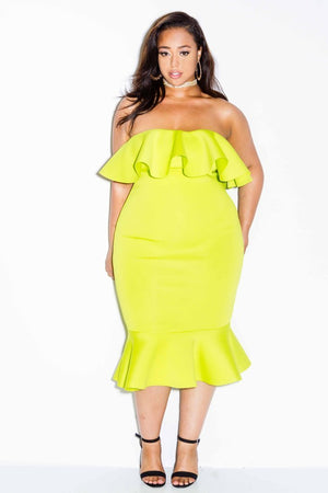 Plus Size Strapless Flounce Dress Neon Green 807 Ave