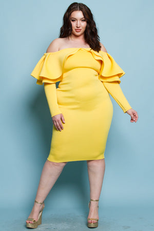 Plus size Off-the-Shoulder Flounce Bodycon Yellow Dress- | 807 Ave.