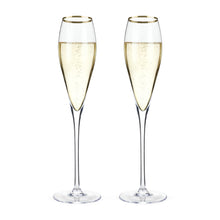 Belmont - Gold Rimmed Crystal Champagne Flutes (Set of 2)