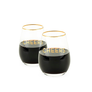 Rustic Farmhouse Cheers - Stemless Wine Glass Set (Set of 2)